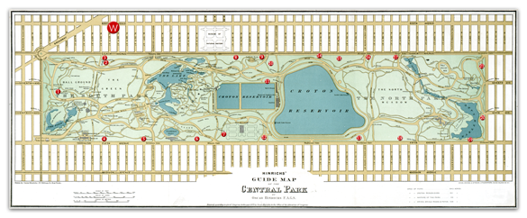 Historic map of Central Park with Current Playgrounds marked out