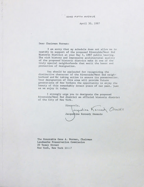 From the LW! Archives…1987 Letter from Jacqueline Kennedy Onassis Supporting the Original Riverside/West End Historic District