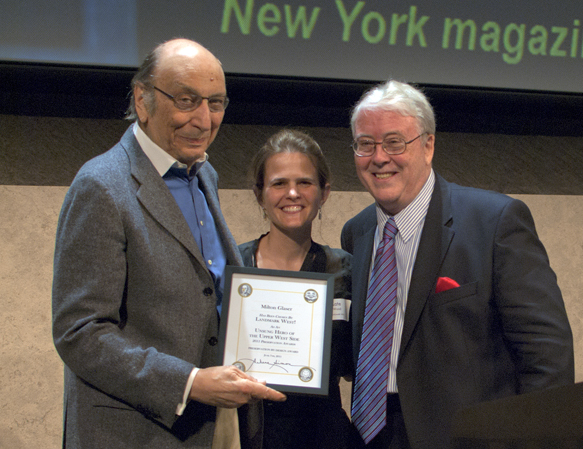 "2011 ""Unsung Hero of the Upper West Side"" Milton Glaser with event emcee Bobby White and LW! President Kate Wood"