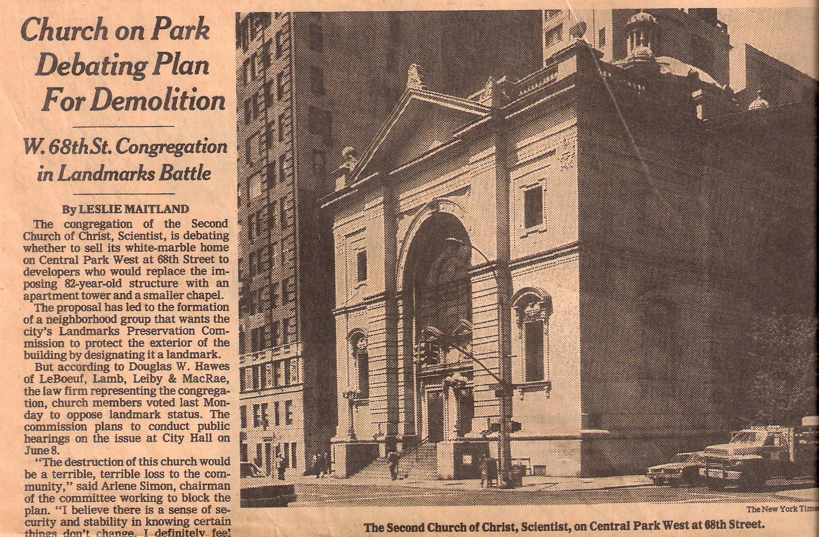 Church on Park Debating Plans for Demolition