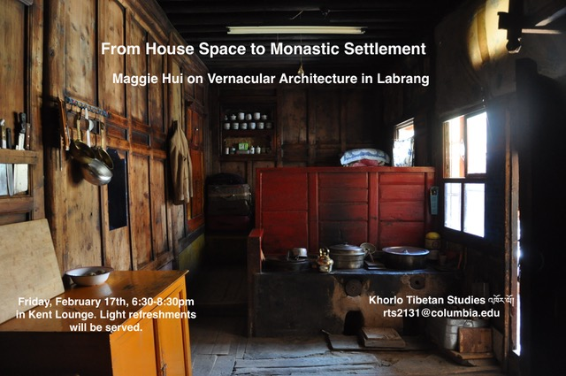 Tibetan Architecture Talk Friday at Columbia