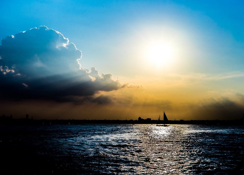 Amazing sunlight on sailboat