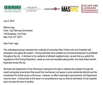 Close the Loopholes! Joint letter to City Planning Commission